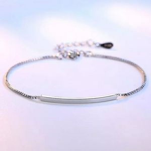 NEW 925 STERLING SILVER PLATED CURVED BAR BRACELET